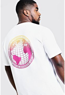 Mens White Big & Tall T-Shirt With Gradient Print