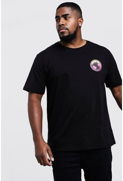 Camiseta con estampado gradiente Big & Tall, Negro, Hombre