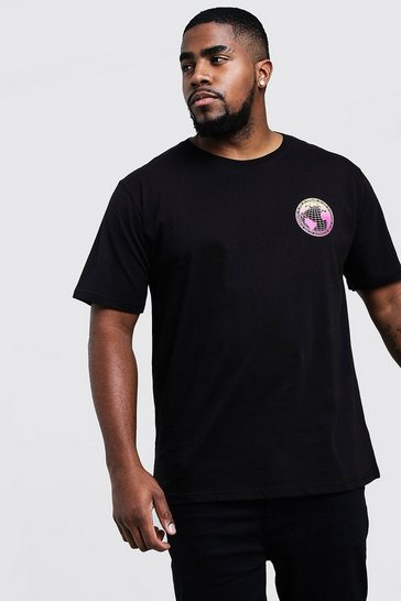 Mens Black Big & Tall T-Shirt With Gradient Print