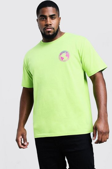 Mens Lime Big & Tall T-Shirt With Gradient Print