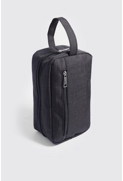 Mens Black Basic Nylon Washbag