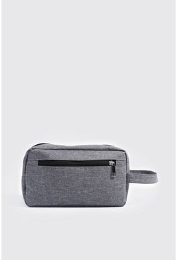 Mens Grey Basic Nylon Washbag