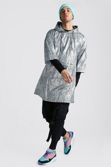 Mens Silver Metallic Poncho With Animal Print