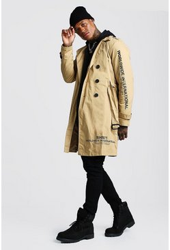 Camel Trench Coat With Print Detail