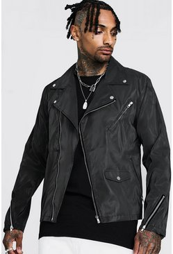 Mens Black Reflective Biker Jacket