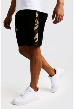 Mens Black Woven Shorts With Camo Side Panel
