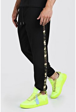 Mens Black Cuffed Trouser With Camo Side Panel