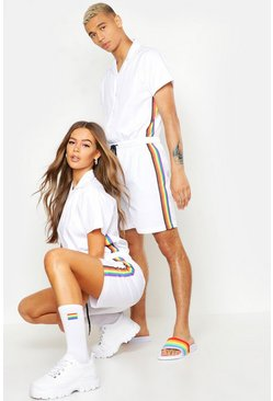 Mens White Pride Short Jumpsuit With Rainbow Tape