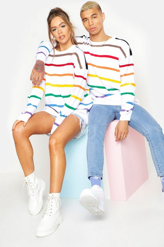 Mens White Pride Loose Fit Jumper With Rainbow Stripes