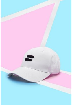 Mens White Pride Cap With Embroidered 3D Equality Symbol