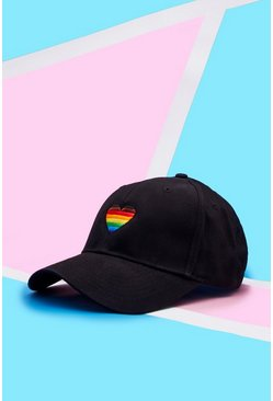 Mens Black Pride Cap With Rainbow Heart Embroidery