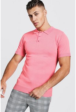 Polo en maille manches courtes taille normale, Corail, Homme