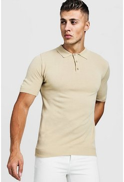 Camel Muscle Fit Short Sleeve Knitted Polo