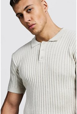 Mens Stone Muscle Fit Ribbed Knitted Polo