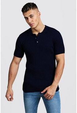 Mens Navy Muscle Fit Ribbed Knitted Polo