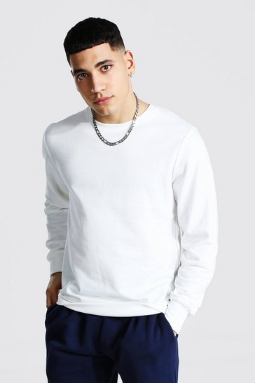 Mens White Basic Crew Neck Fleece Sweatshirt