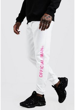 Jogging coupe skinny MAN officiel, Blanc, Homme