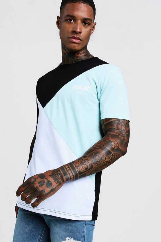 Mens Aqua MAN Colour Block T-Shirt