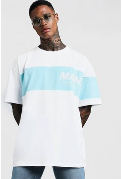 Mens White MAN Contrast Panel Oversized T-Shirt