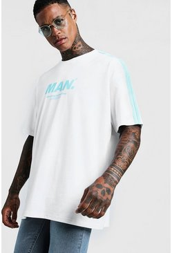 Mens White MAN Oversized T-Shirt With Side Stripes