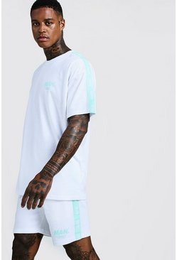 Mens White MAN Print T-Shirt & Short Set With Tape Detail