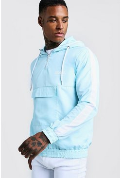Mens Aqua MAN Hooded Cagoule With Contrast Panels