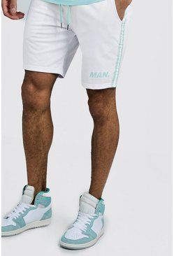 Mens White MAN Tricot Shorts With Side Stripes