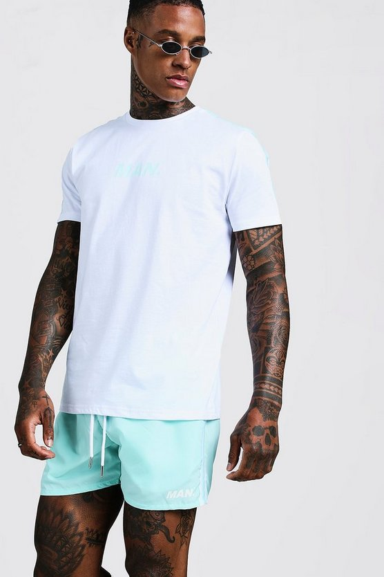 Mens White MAN Print T-Shirt & Swim Short Set