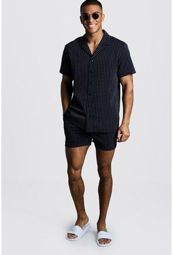 Mens Navy Pinstripe Revere Shirt & Short Set