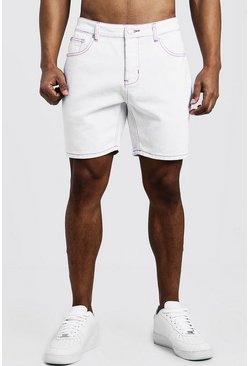 Mens White Slim Fit Denim Shorts With Contrast Neon Topstitch