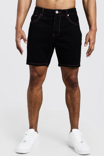 Mens Black Slim Fit Denim Shorts With Contrast Neon Topstitch