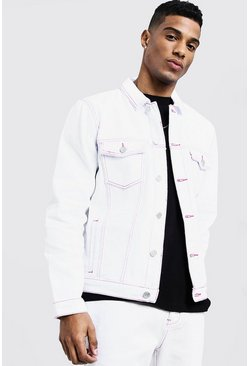 Mens White Denim Jacket With Contrast Neon Topstitch