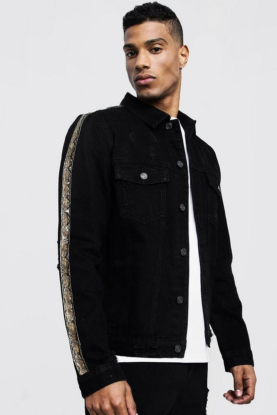 Mens Black Denim Jacket With Snakeskin Tape Detail