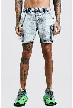 Mens Vintage blue Slim Fit Utility Cargo Denim Shorts