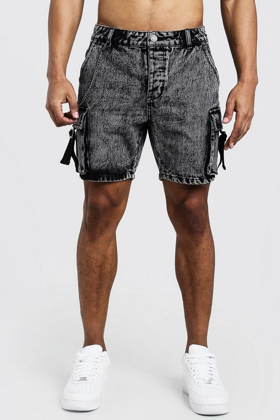 Washed black Slim Fit Utility Cargo Denim Shorts