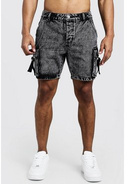 Herr Washed black Slim Fit Utility Cargo Denim Shorts