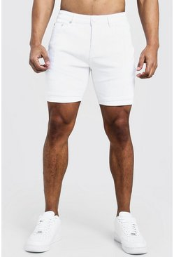 Mens White Skinny Fit Denim Shorts With Biker Panelling