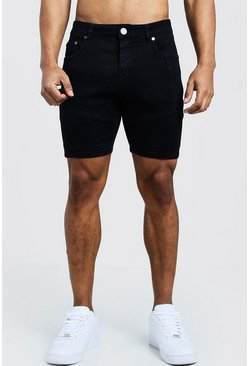 Mens Black Skinny Fit Denim Shorts With Biker Panelling