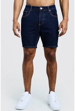 Pantaloncini in denim slim fit con cuciture a contrasto, Indaco