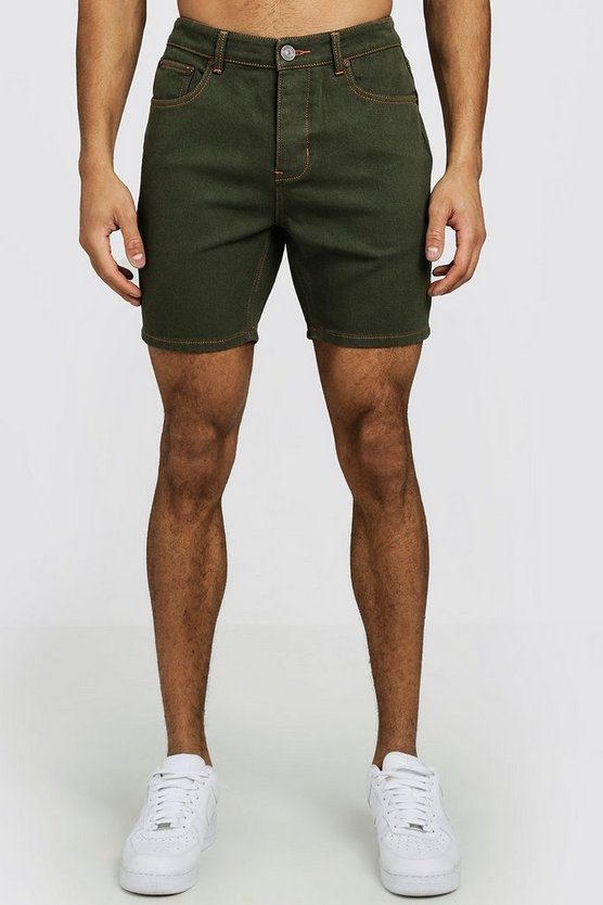 Khaki Slim Fit Denim Shorts With Contrast Stitch