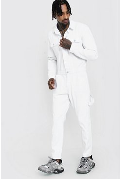 Mens White Long Length Denim Jumpsuit