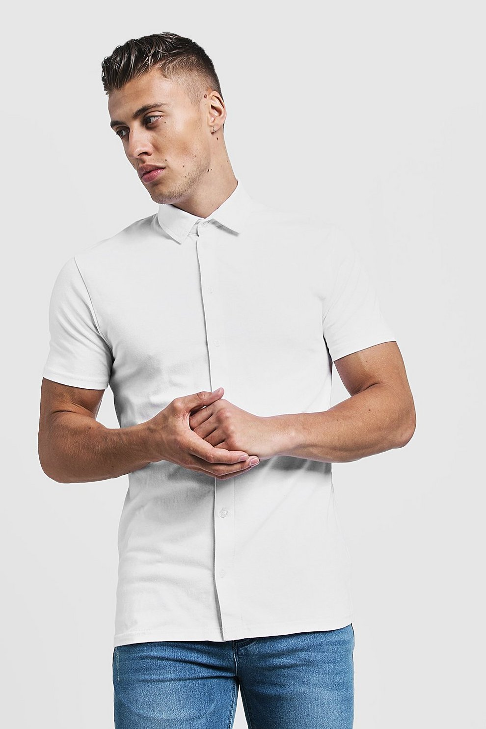 514e88a5e Mens White Muscle Fit Short Sleeve Jersey Shirt. Hover to zoom. Close video