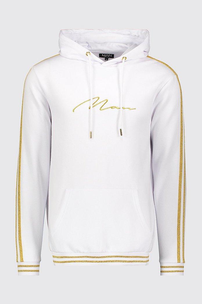 Weiß goldener Hoodie mit MAN Schriftzug und Streifen boohooMAN