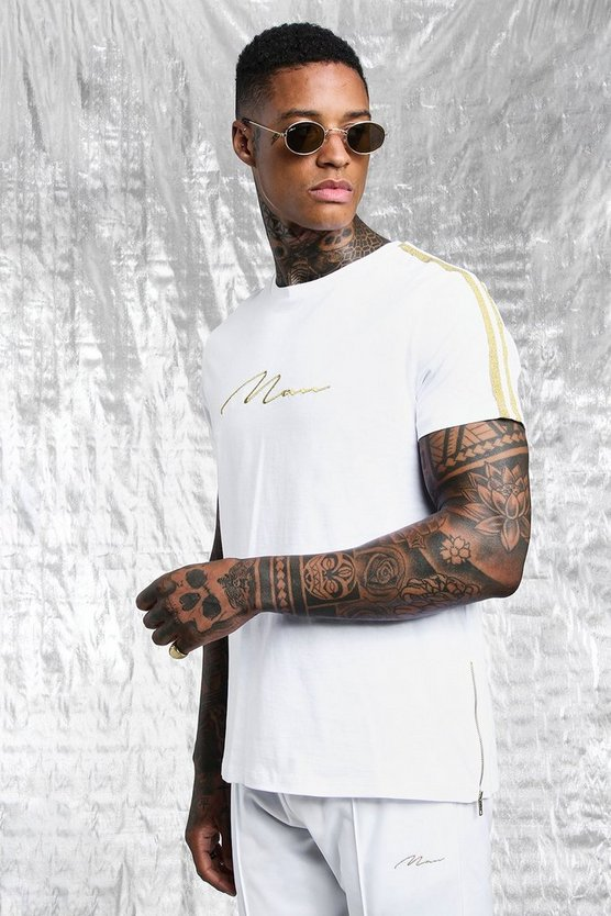 Mens White & Gold MAN Signature Tape T-Shirt