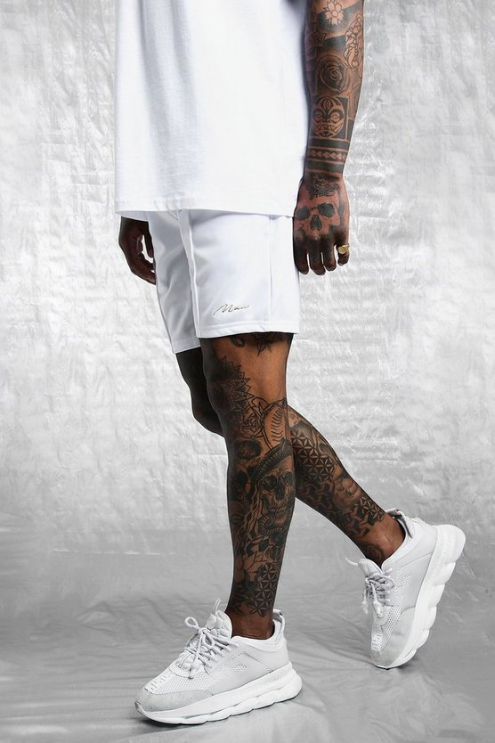 Mens White White & Gold MAN Tricot Pintuck Shorts