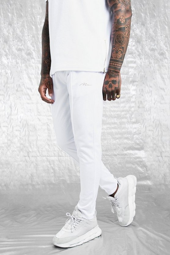Mens White White & Gold MAN Tricot Skinny Pintuck Joggers