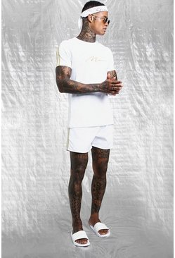 Mens White & Gold MAN T-Shirt & Swim Short With Tape