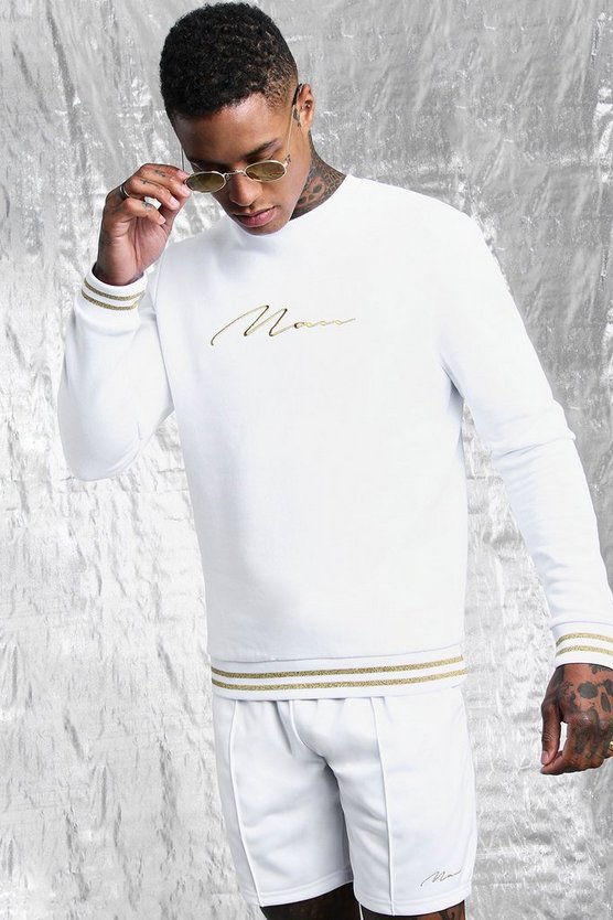 Mens White & Gold MAN Sweater Back Print Short Tracksuit