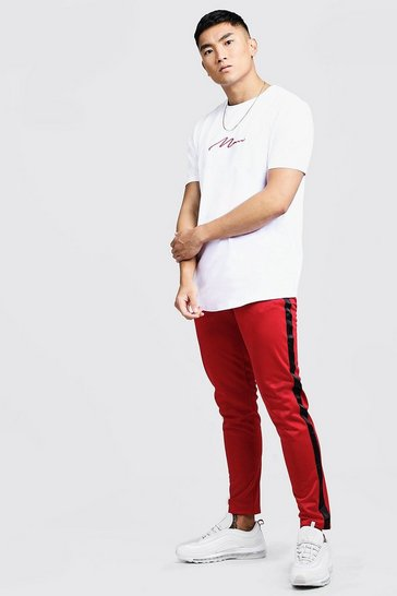 Mens Red MAN Curve Hem T-Shirt & Tricot Jogger Set With Tape