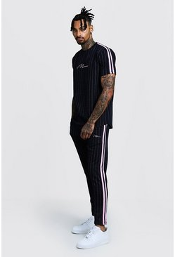 Mens Navy MAN Signature Curve Hem Pinstripe T-Shirt & Jogger Set
